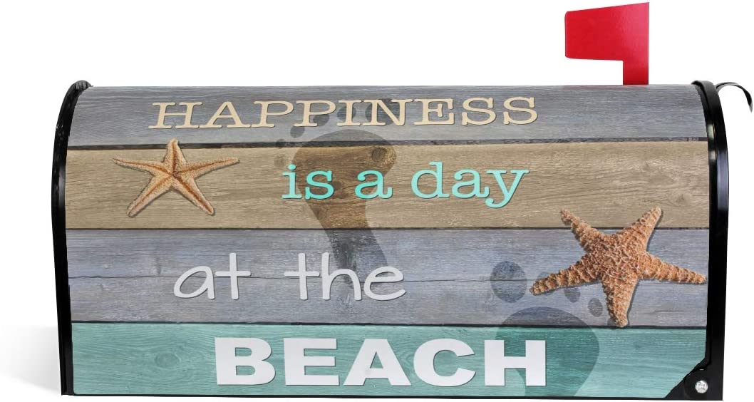 """ALAZA WOOR Happiness is Day at The Beach Magnetic Mailbox Cover MailWraps Garden Yard Home Decor for Outside Oversized-25.5"""" x20.8"""""""