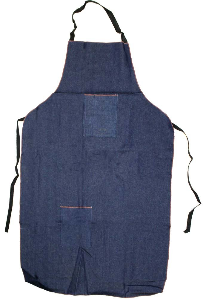 Extra Long Bib Style Denim Apron, Measuring 48'' X 25'', With Front Pockets