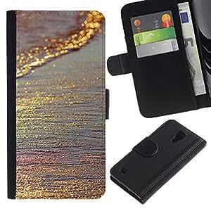 [Neutron-Star] Modelo colorido cuero de la carpeta del tirón del caso cubierta piel Holster Funda protecció Para Samsung Galaxy S4 IV I9500 [El oro brilla iridiscente mar de arena de Verano]