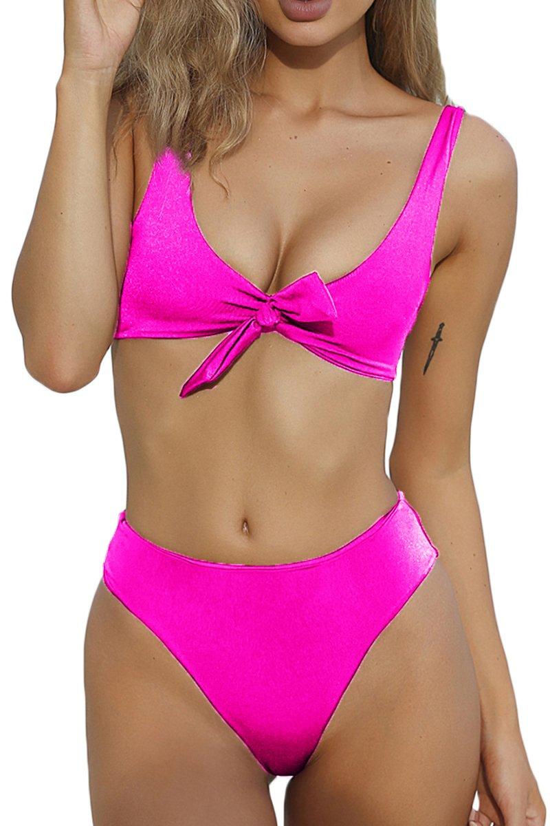 QINSEN Ladies Flowy Cropped Tank Brazilian Thong 2PCS Bikini Bathing Suit Rosy S