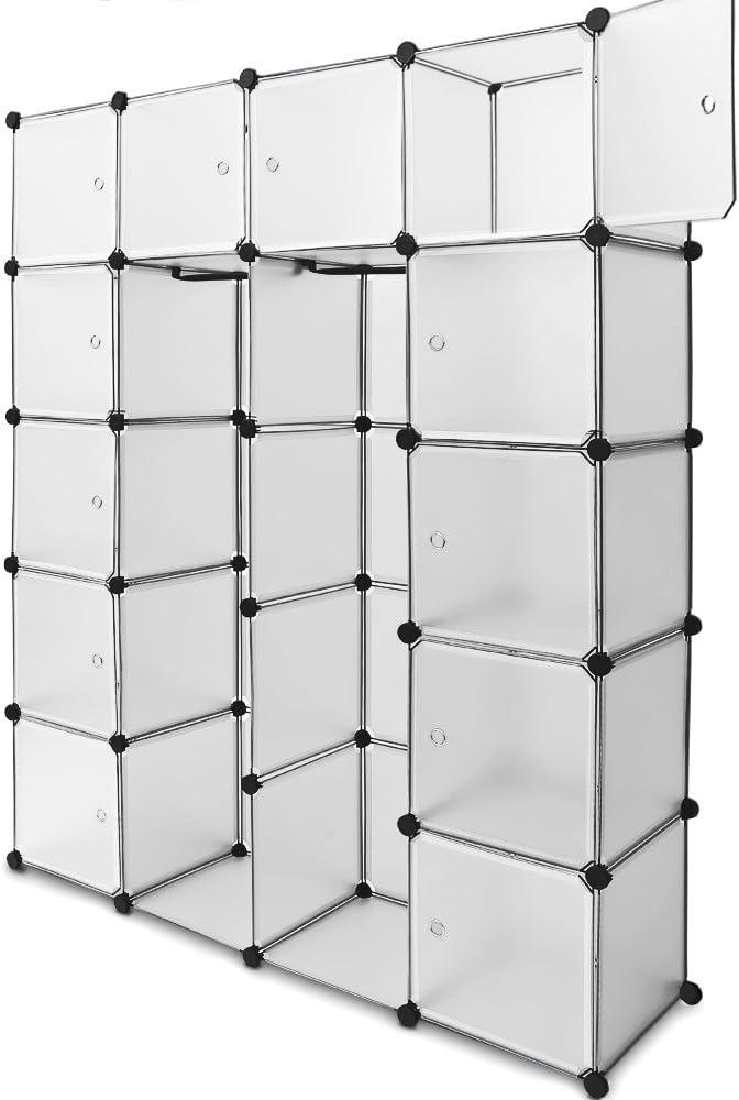 Armario Deuba de plástico de 20 o 12 cubos, puertas traslúcidas con diseño de espirales, color blanco, negro, rosa, azul, metal, Blanco, 20 Boxes: Amazon.es: Hogar