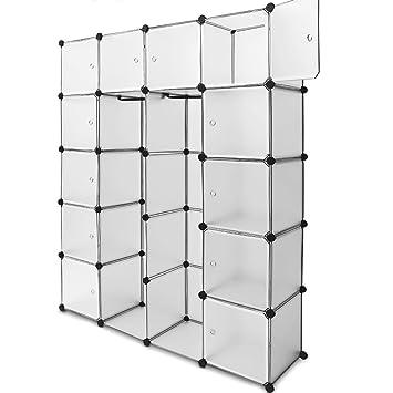 Regalsystem 12 Boxenf/ächer Steckregal Kleiderschrank DIY Garderobe Schuhregal Kunststoffboxen in transparent