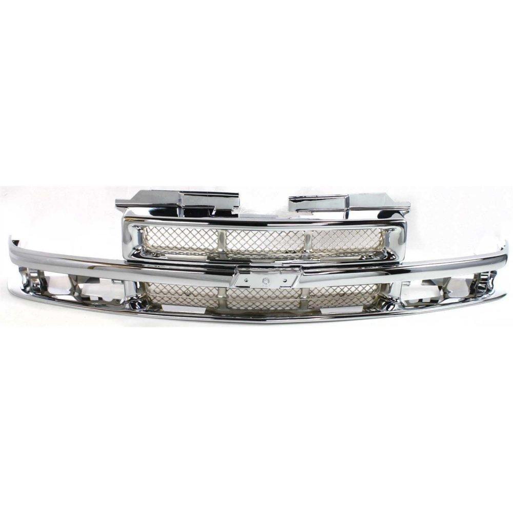 Grille Mesh Insert for Chevrolet Blazer 98-05//S10 Pickup 98-04 Chrome W//Chrome Center Bar