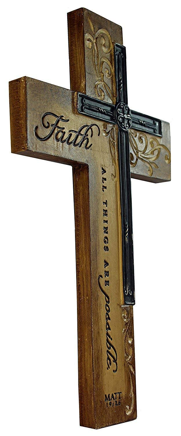 Dicksons Faith All Things Filigree Wood Look 9 Inch Resin Stone Hanging Wall Cross by Dicksons (Image #3)