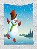 qinghexianpan Snowman Tapestry, Cartoon Happy Character Skating on Icy River Forest Trees Snowy Country, Wall Hanging for Bedroom Living Room Dorm, 60 W X 80 L Inches, Blue Orange Green