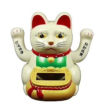 HAAC Solar Gato de Gato gato de la suerte Amuleto de la suerte con 2 manos 10 cm Color Blanco: Amazon.es: Jardín