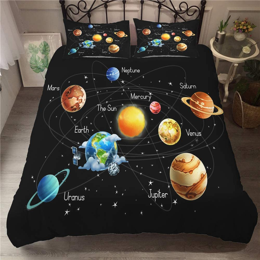 Full Size 3 Pieces Outer Space Duvet Cover Set Astronaut Kids Bedding Sets with Zipper Closure 1 x Stars Printing Quilt Cover and 2 x Pillowcase