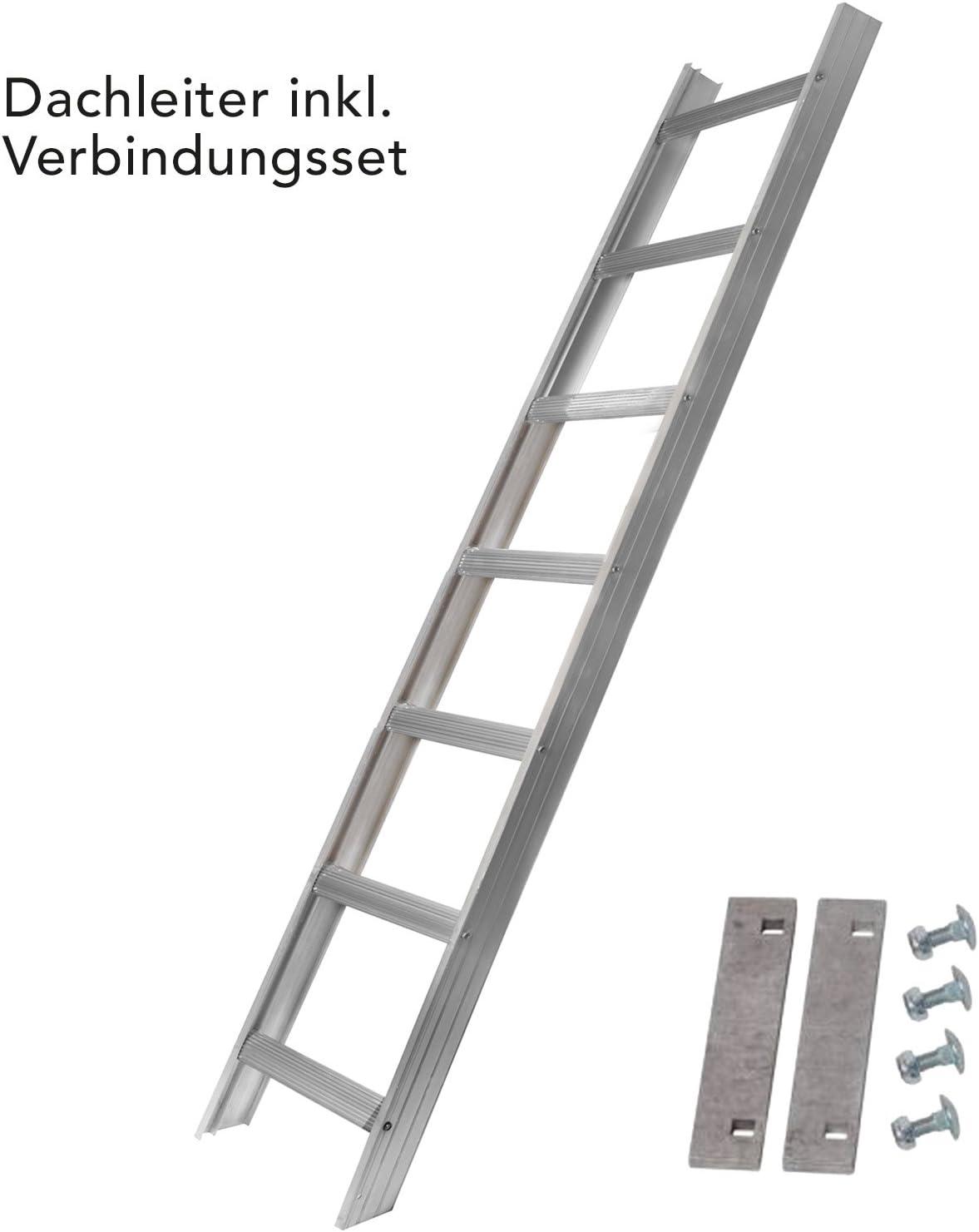 Aluminio Escalera de tejado Juego 5,04 M con para ganchos de tejado para montaje para sartén teja 50 mm gekröpft a vigas con cojín para proteger y aushebe, fabricado en Alemania, dekra.,