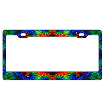 Amazon Yex Abstract Tie Dye Kaleidoscope License Plate Frame