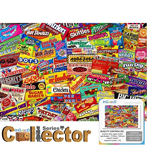 Ingooood- Jigsaw Puzzle- Collector Series - Crazy Candy - 1000 Pieces for Adult Wooden Toys Graduation