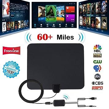 Antena de TV Digital,con Amplificador de señal Amplificador de Antena de TV HDTV TDT TDT TV por Cable Antena de Fox Alcance de 60 Millas por Firmrock: ...