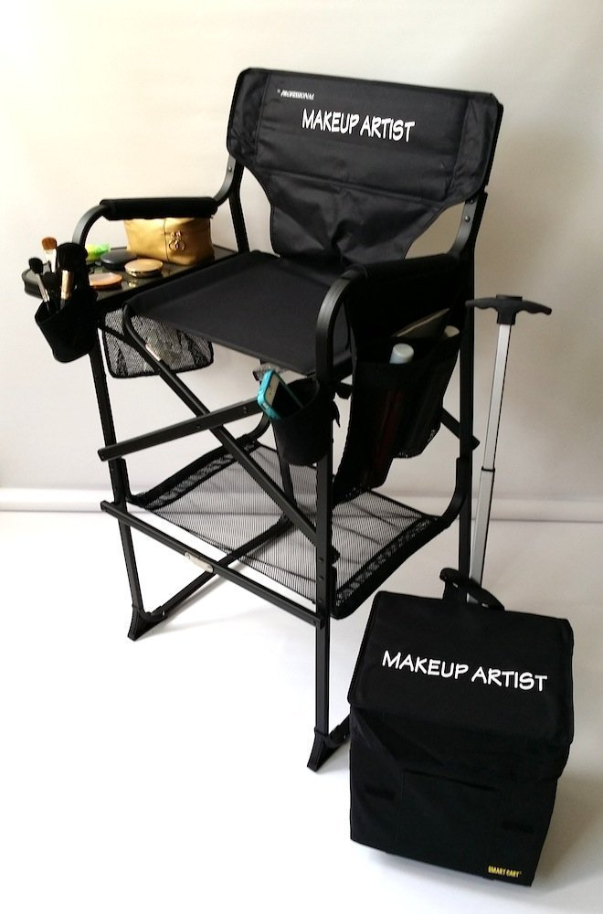 65TTPro NEW & IMPROVED!! MAKEUP ARTIST Professional Tall Chair -HEAVY DUTY w/ Storage Side-Bags-2 Brush Holders-Bottom Mesh Product-10 Years Warranty-- 29'' SEAT HEIGHT