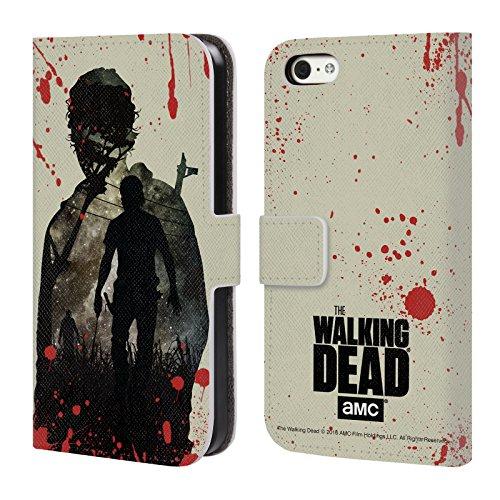 Officiel AMC The Walking Dead Rick Silhouettes Étui Coque De Livre En Cuir Pour Apple iPhone 5c