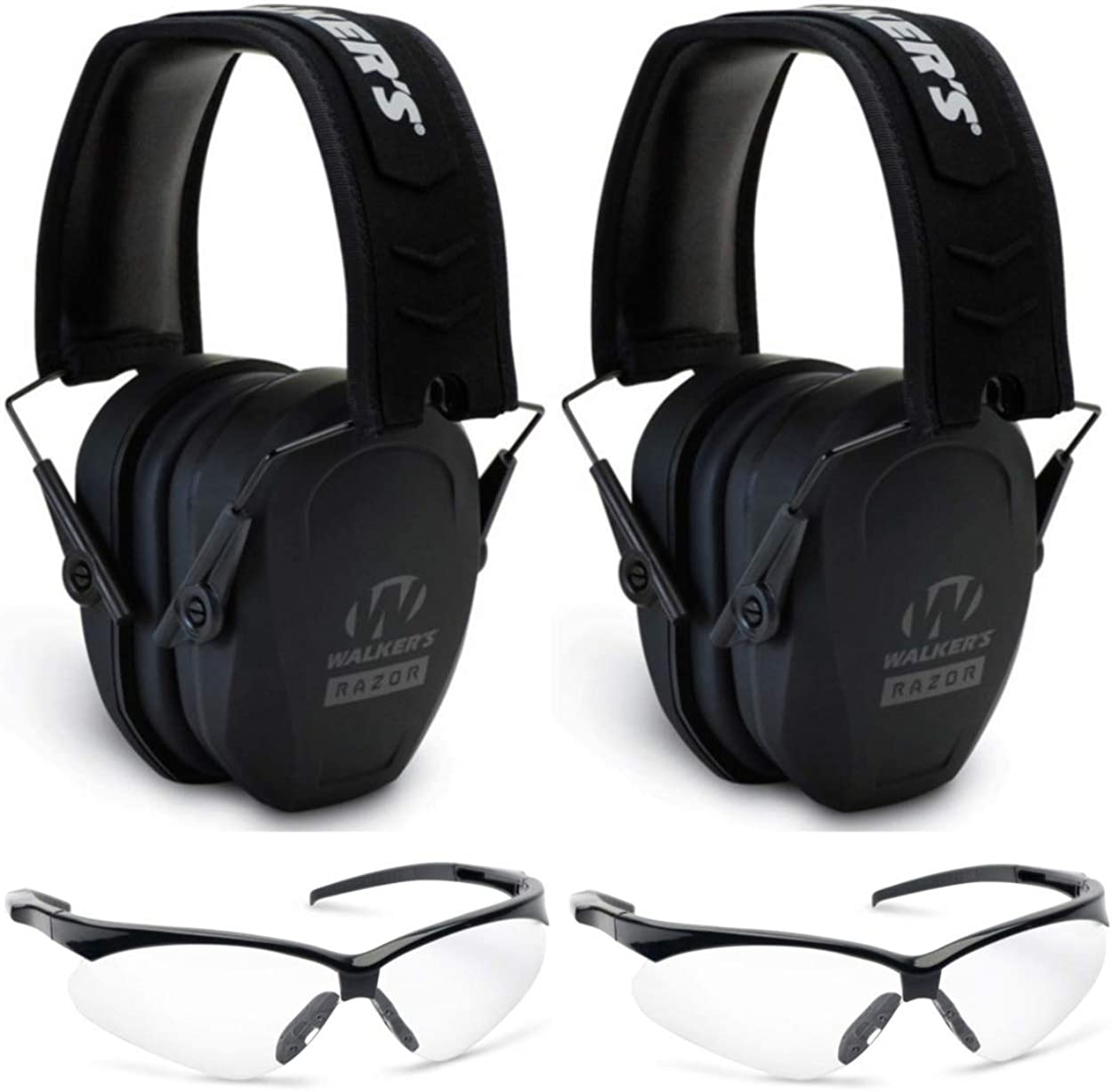 Walkers Game Ear Double Range Safety Kit: Two Razor Slim Hearing Protection Muffs & Two Crosshair Glasses Set