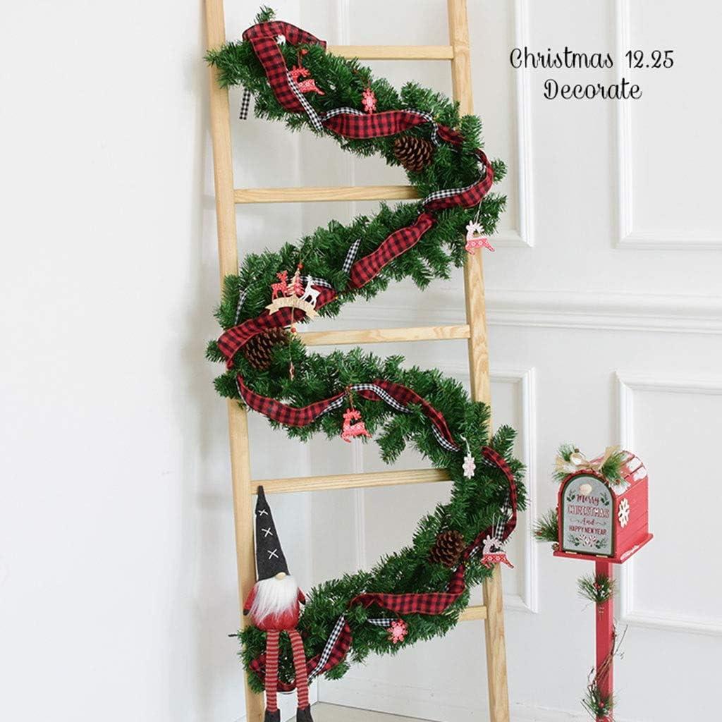 Navidad Guirnalda Escaleras Chimeneas Decoraciones 2.7m, Cinta, Ratán, Decoración de la Tienda de Navidad (Color : Style 2): Amazon.es: Hogar