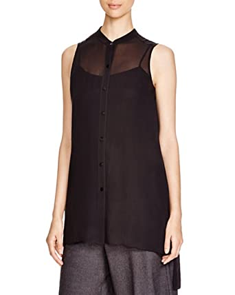 e525946ce46 Eileen Fisher Mandarin Collar Silk Tunic, Black (Petite Small) at ...