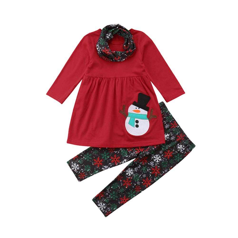 Toddler Baby Girls Christmas Outfits,Long Sleeve Tops Dress+Snowflake Leggings Pants Set Scarf Fall Clothes Winagainer
