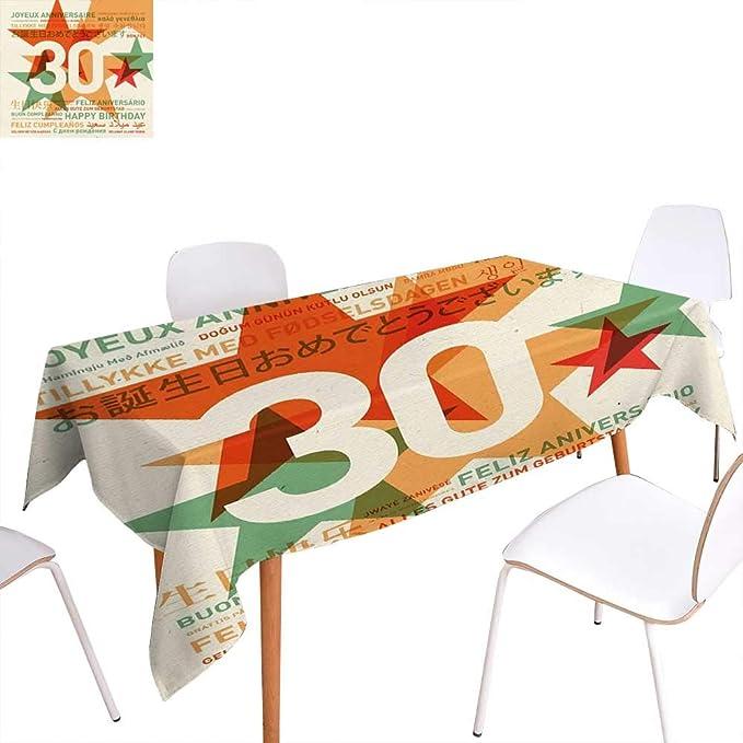 familytaste - Mantel Rectangular para 30 cumpleaños, diseño ...