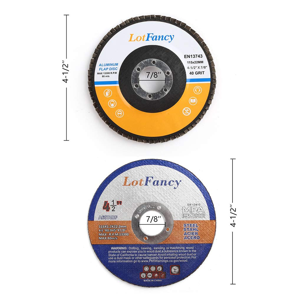 40 60 80 120 Grit Assorted Zirconia Alumina Sanding Grinding Wheels Type #27 Metal Cut off Wheels for Angle Grinders 14PCS 4.5 Inch Flap Discs And Cutting Wheels Set by LotFancy