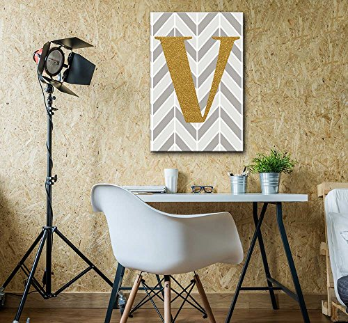 The Letter V in Gold Leaf Effect on Geometric Background Hip Young Art Decor