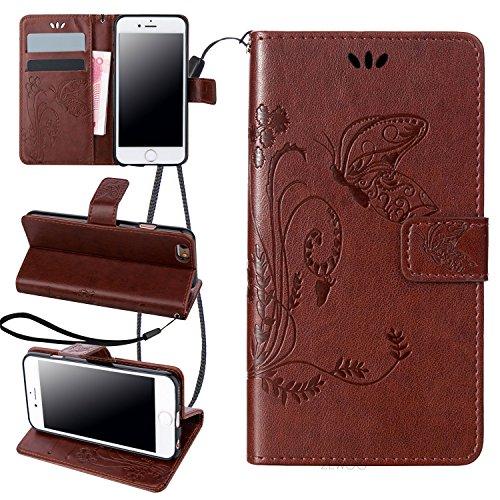 ZeWoo Folio Ledertasche - LD107 / Reifen braun - für Apple iPhone 6 (4.7 Zoll) PU Leder Tasche Brieftasche Case Cover