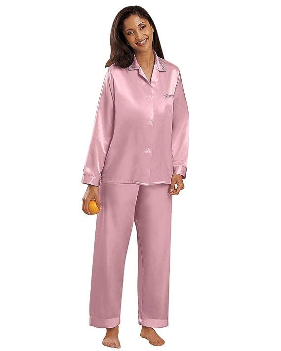National Women's Brushed Back Satin Pajamas - Misses, Womens at ...