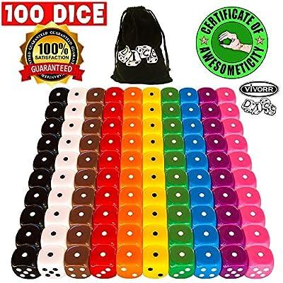 Vivorr Premium Dice Set of 100 Pieces, 10 Colors, 10 of Each Color, 16mm, D6, c/w Velvet Carry Bag / Pouch, Perfect for: Tenzi, Farkle, Yahtzee, Bunco, Board Games, Casino or Teaching Math. Ideal Gift: Toys & Games