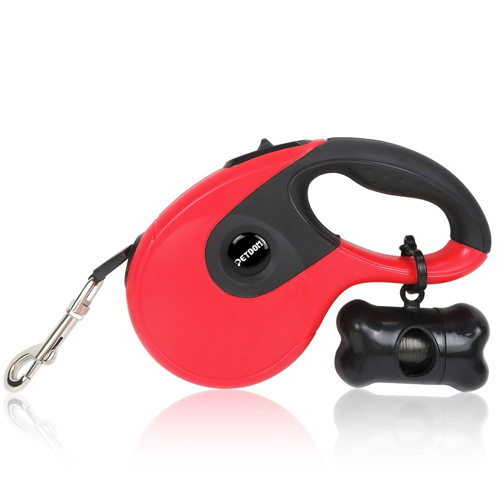 PETDOM Retractable Dog Leash, 16 ft Nylon Tape for Dogs Up to 110 lbs, Tangle Free, One Button Brake & Lock, with Free Dog Poop Bag and Dispenser - White/Red/Blue (Red&Black)
