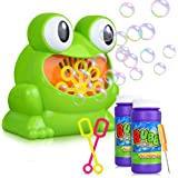 Bubble Machine, Automatic Frog Bubble Blower Machine Make Over 500 Bubbles per Minute for Kids Birthday Party, Wedding, Indoor and Outdoor Games, 2 Bottles 4.2 Fl Ounce Bubble Solution Included