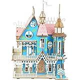 3D Wooden Puzzle Adult Colorful Dream Villa Blue Castle Building Model DIY Assembled Craft Kit Laser-Cut Educational Toys Set