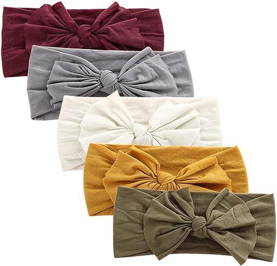 Big Bow Headband Nylon Hairband Girls Baby Knotted Turban Head Wraps Elastic New