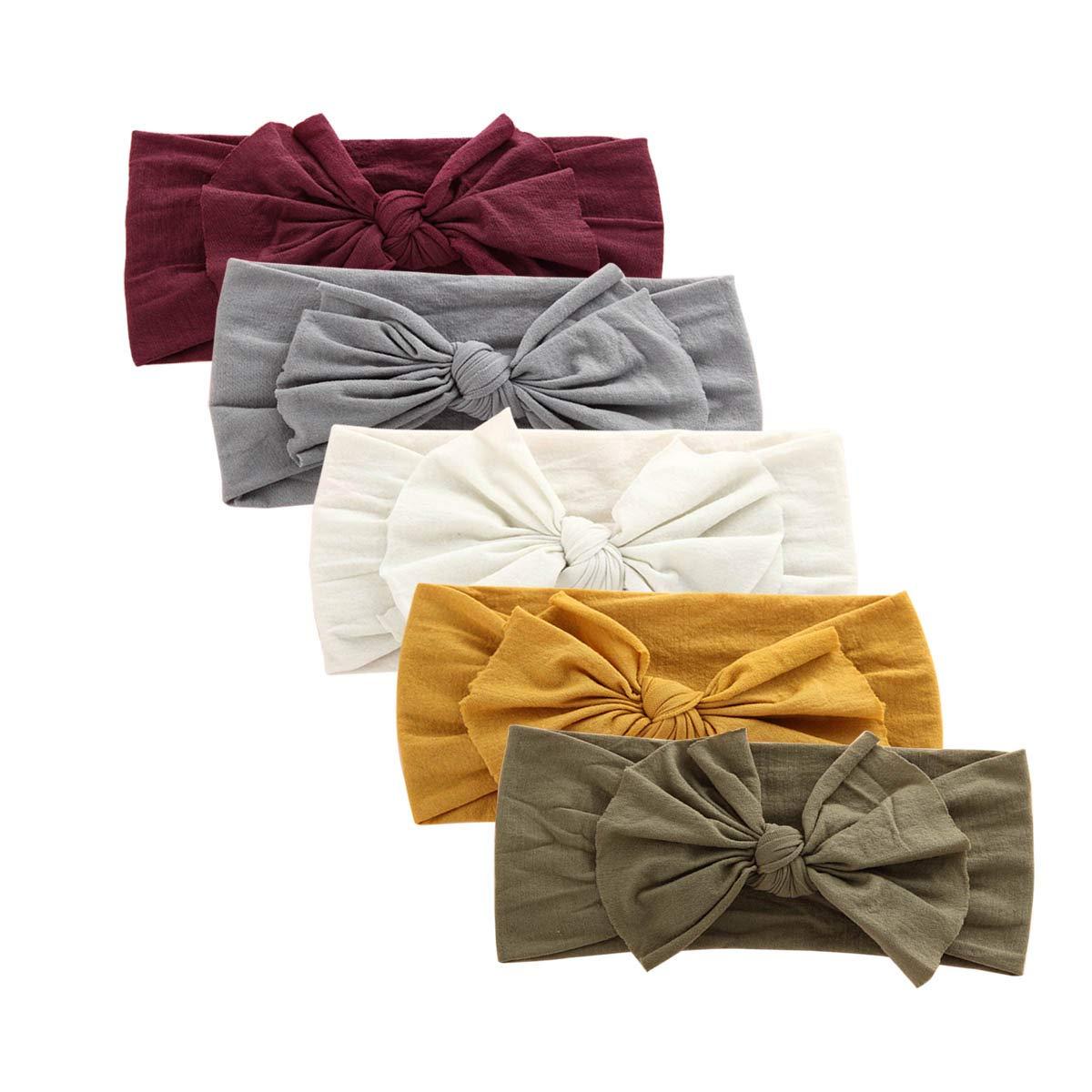 Nylon Newborn Headbands Baby Girl Bow Headband Infant Bows Head Cap Hair Band (Multicolor-ZM13)