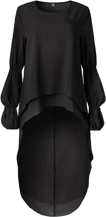 2b6fa779416 ... PRETTYGARDEN Women s Lantern Long Sleeve Round Neck High Low  Asymmetrical Irregular Hem Casual Tops Blouse Shirt ...