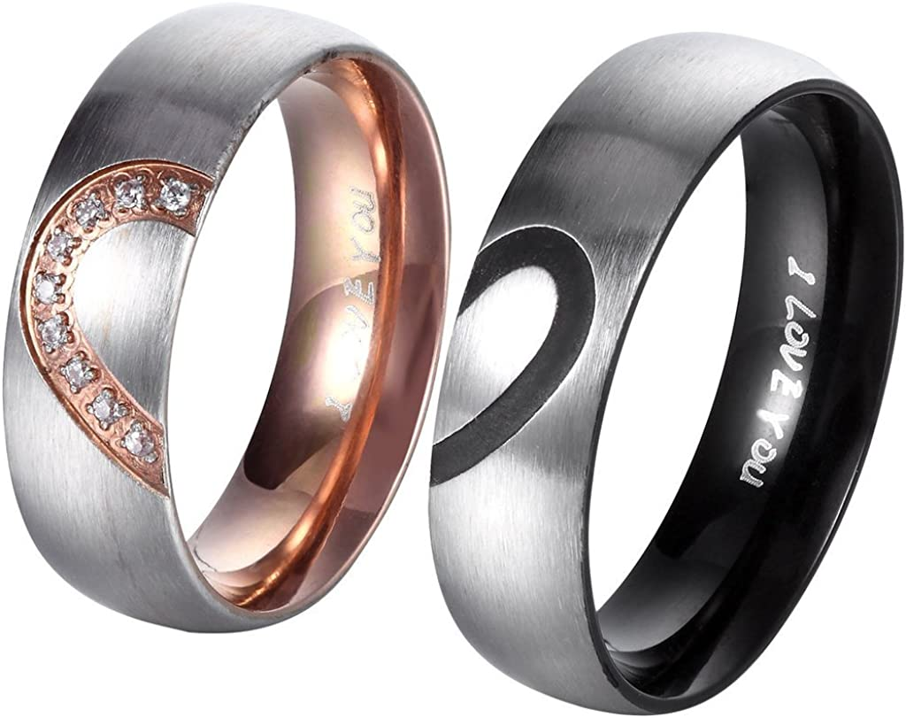 ANAZOZ Jewelry Couples Fashion Promise Rings His and Hers Love Wedding Engagement