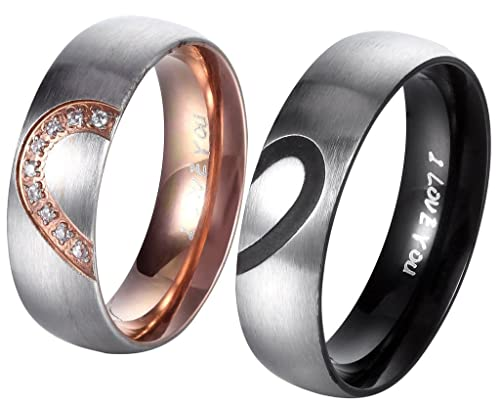 AnazoZ 6MM His & Hers For Real Love I Love You Heart Promise Ring Stainless Steel Couples Wedding Engagement Bands pZIiSj9iGw