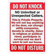 """WALI Aluminum Sign for Home Business Security, Legend Do Not Knock-Do Not Disturb, Rectangle 10"""" High x 7"""" Wide, UV Protected and waterproof (SIGN-A-5), Red/Black on White"""