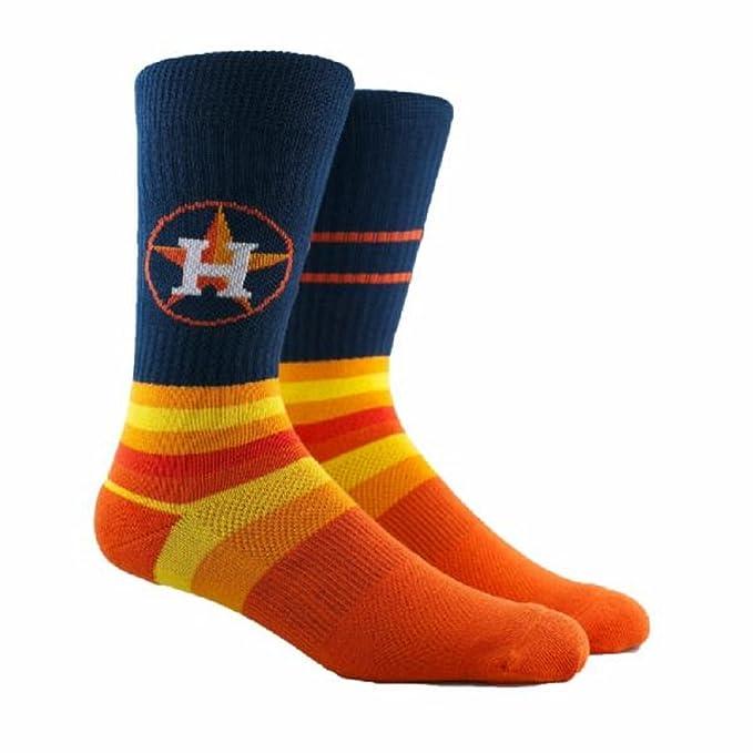 60df19136493 Amazon.com: PKWY MLB Block Crew Socks Houston Astros - Size Large ...