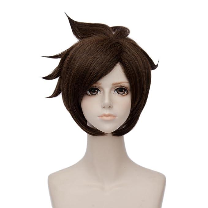 Juego de pelo corto recto Tracer marrón Cosplay Pelucas Para Overwatch Cosplay peluca: Amazon.es: Ropa y accesorios