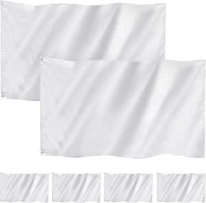 Boao 6 Pack 3 x 5 Feet Solid White Flag Plain White Flags Polyester Double Stitched Blank Flags Banner with Grommets for DIY Garden Backyard Playground Decoration