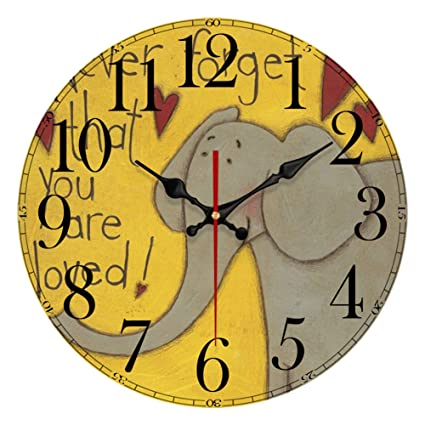 YeYo Cartoon Elephant Wall Clock Made of Wood Battery Operated Home Decoration French Country Silent Clock
