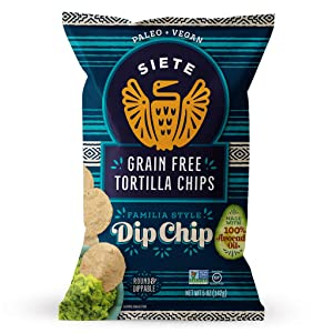 Siete Grain Free Tortilla Chips - Dip Chips, 5 oz Bag (6-Pack) - Dairy Free, Paleo, Vegan, Non-GMO, Gluten Free - Cassava Chips with Chia Seed