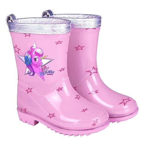 311cd3931 PERLETTI Botas de Agua para Niña Unicornio - Botines Impermeables de Moda  Rosa con Estrellitas -