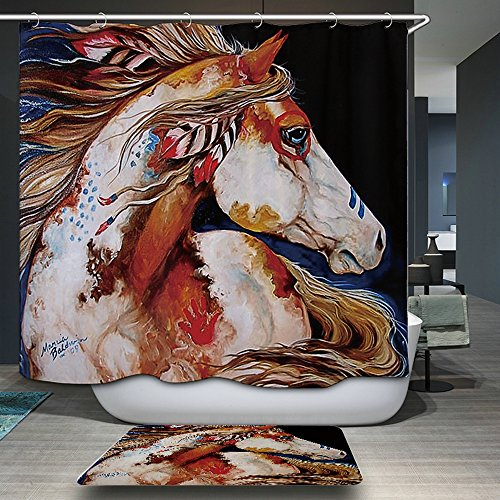 "Colorful Horse Painting Good Quality Hot Selling Digital Printing 70""X 70"" Quality Polyester Mildew Resistant Bathroom Curtain Supplies Curtain Best Price With Giving Away Same Color Mat"