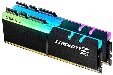 G SKILL F4-3200C16D-16GTZR Trident Z RGB Series 16 GB (8 GB x 2) DDR4 3200  MHz PC4-25600 CL16 Dual Channel Memory Kit - Black with full length RGB LED