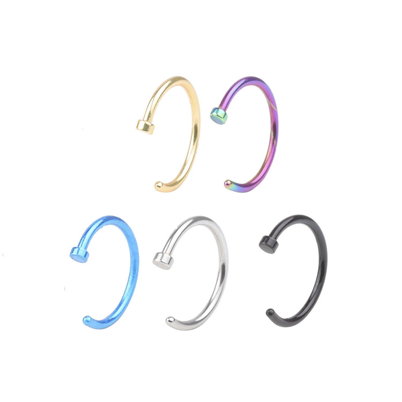 "20G Nose Hoop Ring  5//16/"" 8mm Surgical Steel Body Piercing Multi Color Stud"