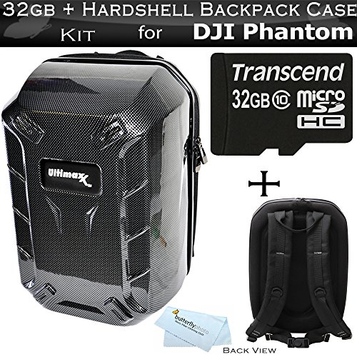 Hardshell Backpack Case for DJI Quadcopter Drones Fits with All DJI Phantom Drone Models DJI Phantom 1, Phantom 2, and Phantom 3, Phantom 3 4K Drones + 32GB High Speed Micro SD Memory Card + More