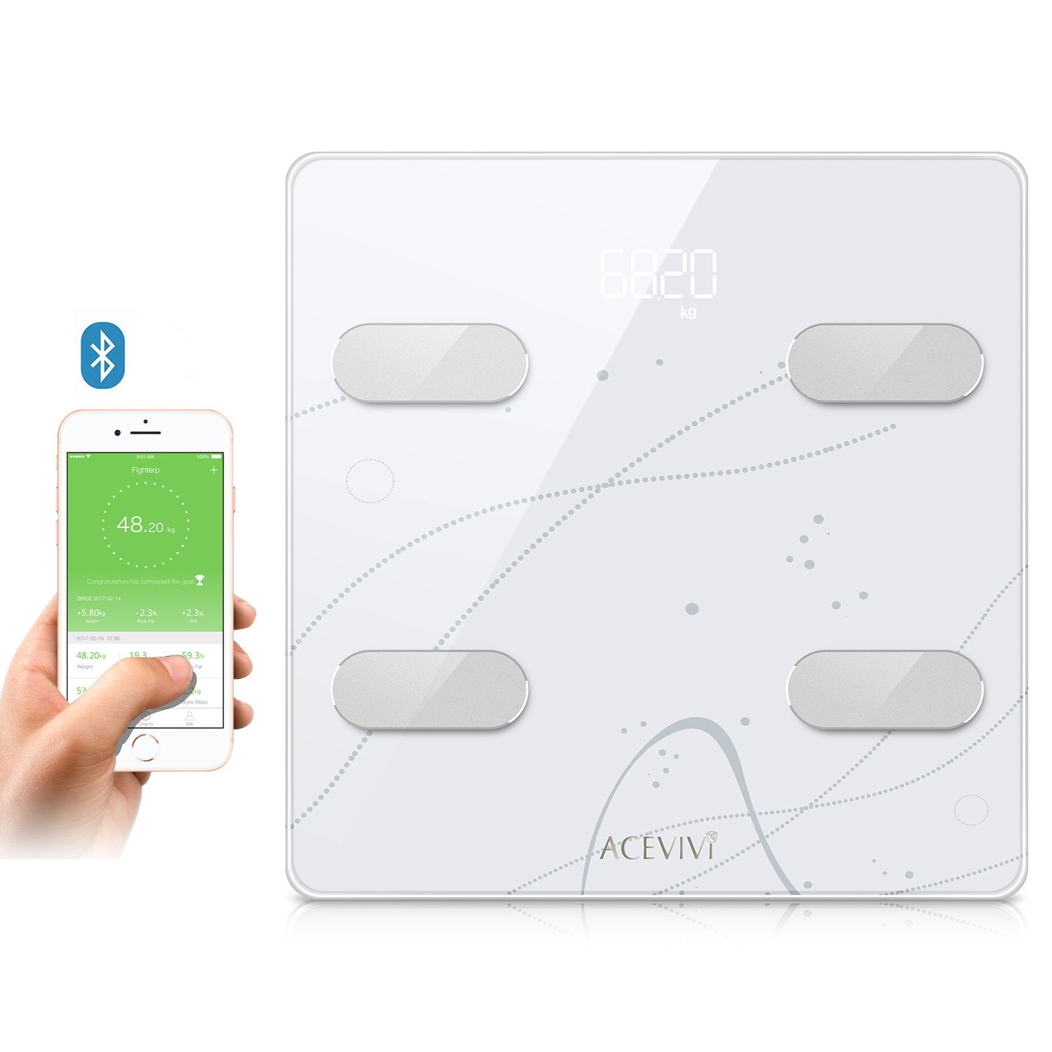 Weight Body Fat Scale, Digital Bathroom Scale Bluetooth, Smart BMI Scale Body Composition Analyzer Support Fitbit, Apple Health, Google Fit