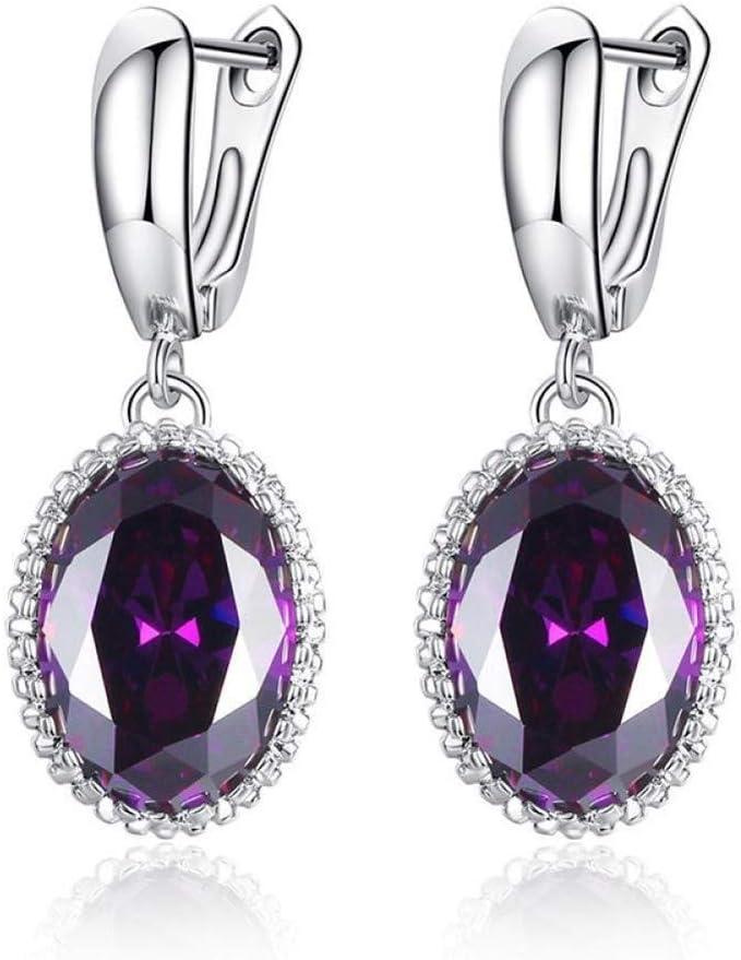 WSNM Oreja Pendientes de Piedras Preciosas de Plata Oval for joyería Fina Femal Partido de Las Mujeres de Moda 925 Gotas Amatista Aguamarina Zafiro (Color : Purple)