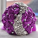 Prettybuy Handmade Satin Roses with Diamond Rhinestone Brooch Bridal Hold Flowers Wedding Bouquet Meteor Shower Design Rhinestones Decor Satin Roses Bouquet for Photo Shooting, Valentine's Day, Proposal, Birthday and Special Day Gift (PURPLE)