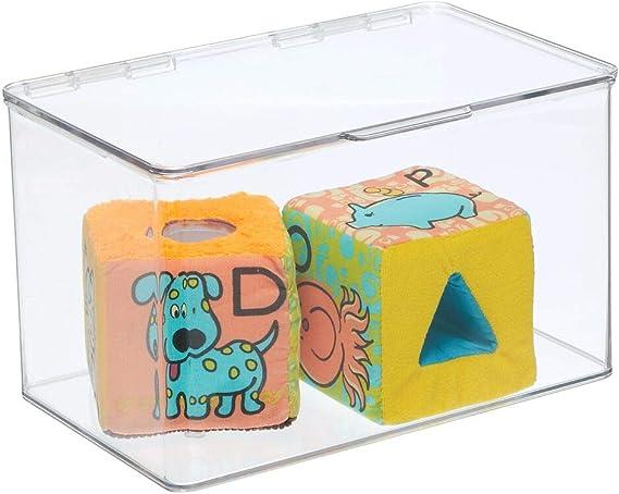 Organizer giocattoli pratico per la cameretta Portagiochi ideale per mattoncini soldatini bambole pennarelli trasparente mDesign Contenitore porta giochi in plastica con coperchio